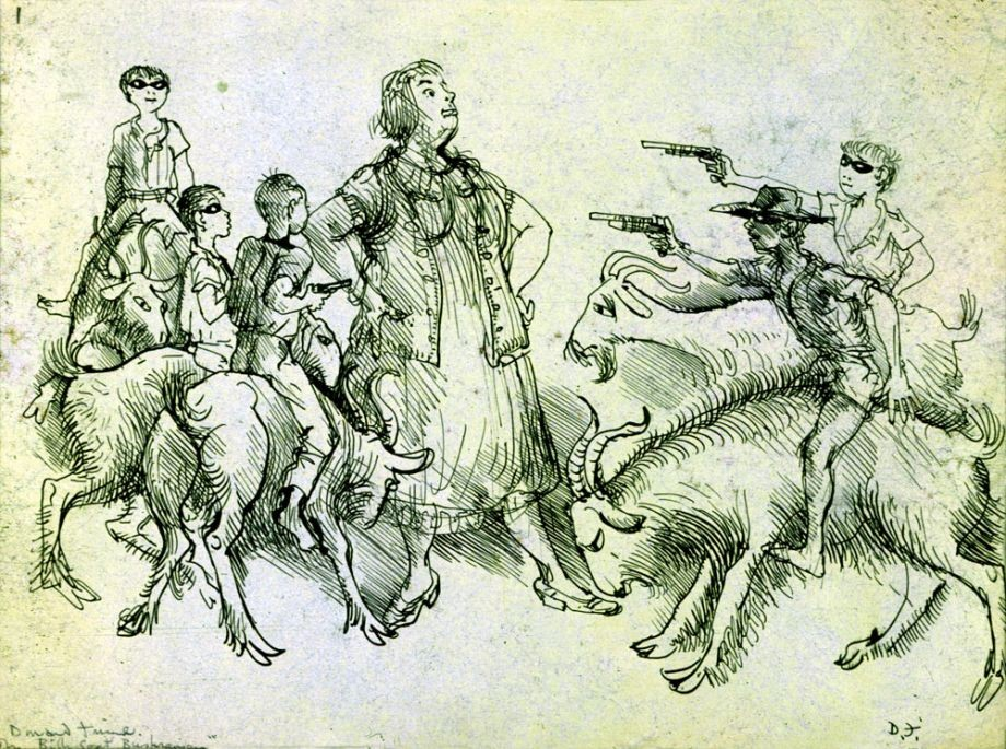 Donald Friend The billygoat bushrangers. Exhibited at the Johnstone Gallery in A selection of drawings 22 March – 14 April 1972