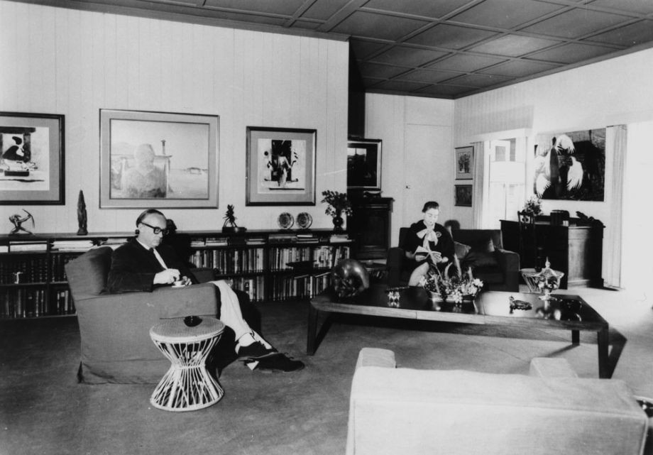 Brian and Marjorie Johnstone in their sitting room at Cintra Road,1965