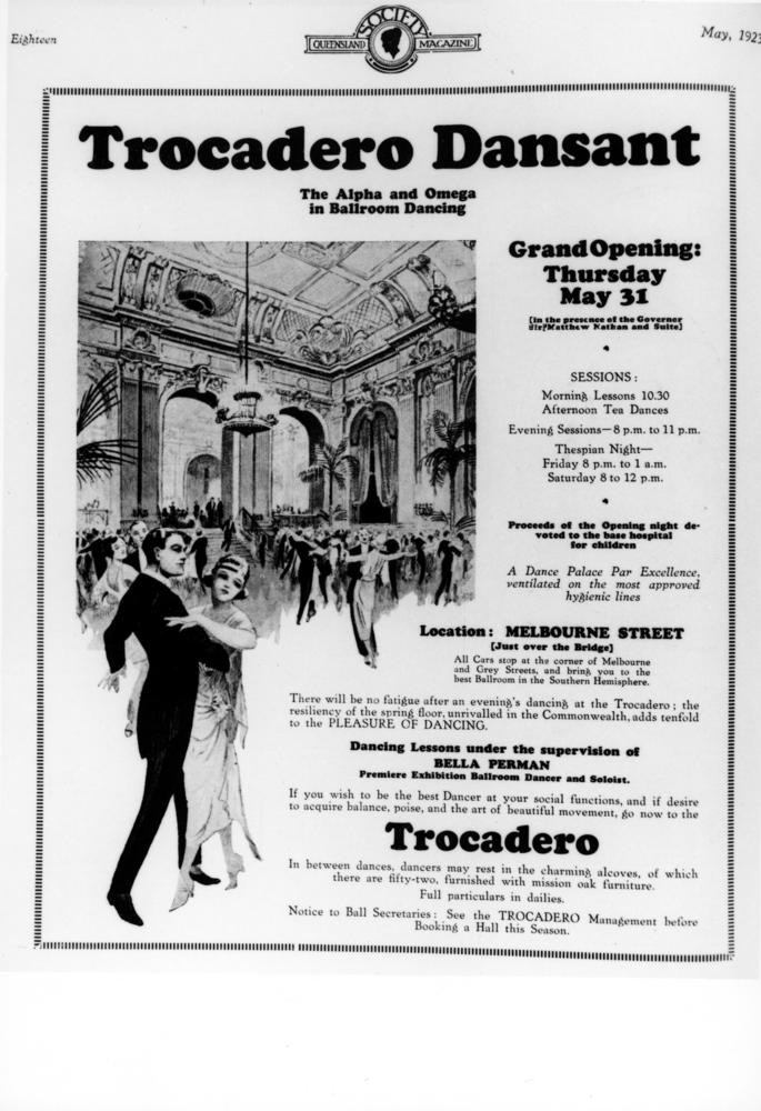Advertisement for the Trocadero Dansant opening in Queensland Society Magazine