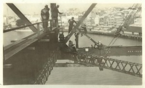 Breathtaking view of Brisbane enjoyed by the riggers on the Story Bridge construction crew ca 1938
