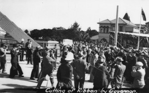 Governor of Queensland cutting the ribbon at the opening of the Story Bridge Brisbane 1940