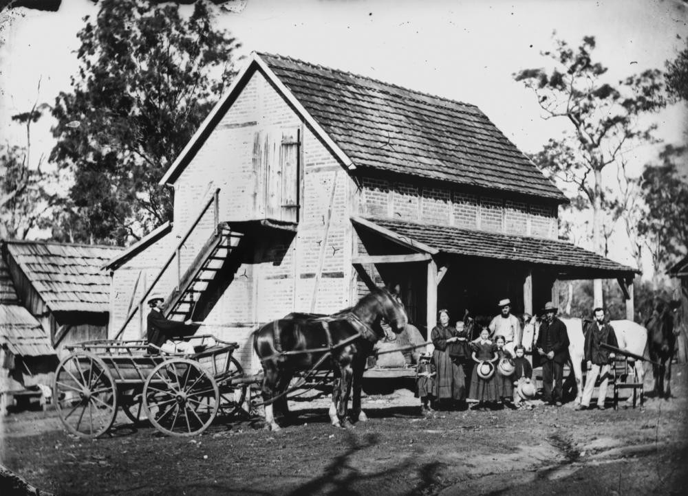 German family outside a farm building in the Bethania area Queensland ca 1871
