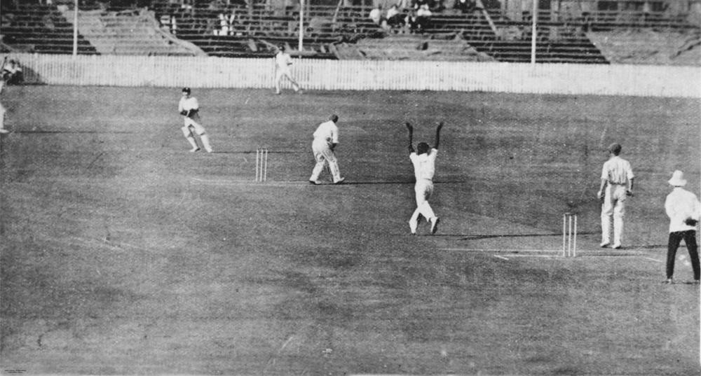 Eddie Gilbert Donald Bradman and team playing cricket at the Woolloongabba Cricket Ground