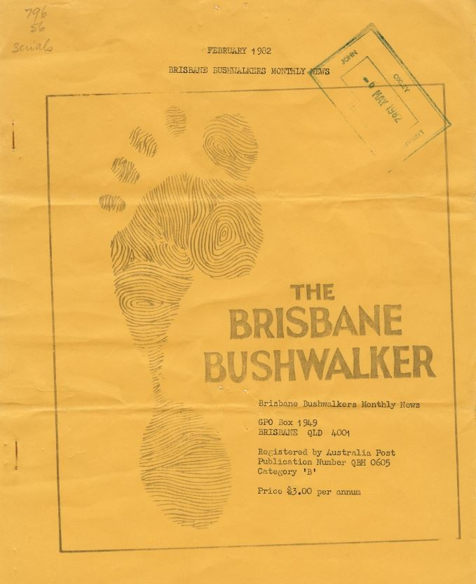 Photo of the front cover of The Brisbane Bushwalker magazine February 1982