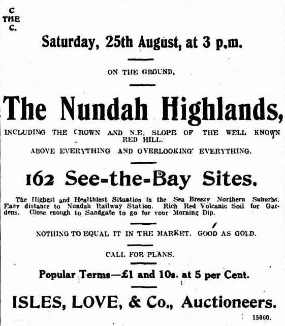 Advertisement for the Nundah Highlands Estate published in The Telegraph