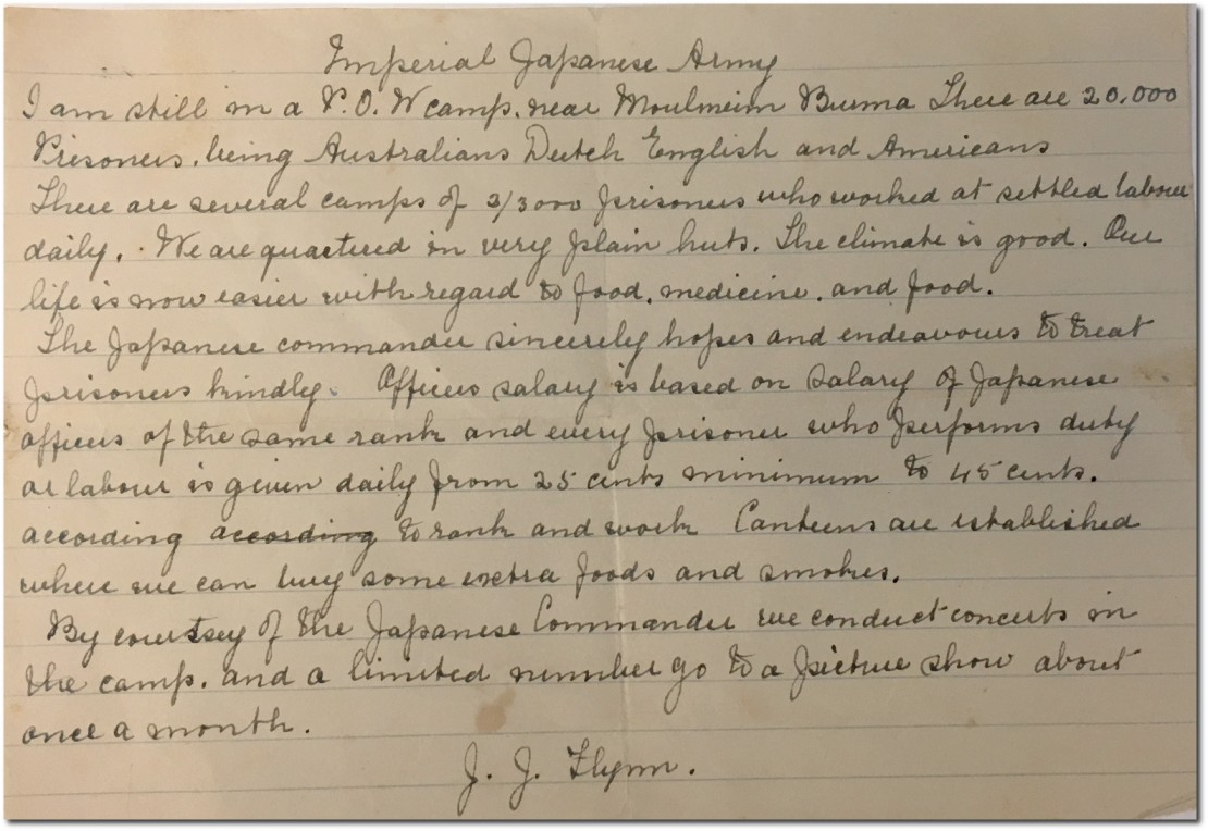 Letter from Jack Flynn to his family while prisoner of the Japanese