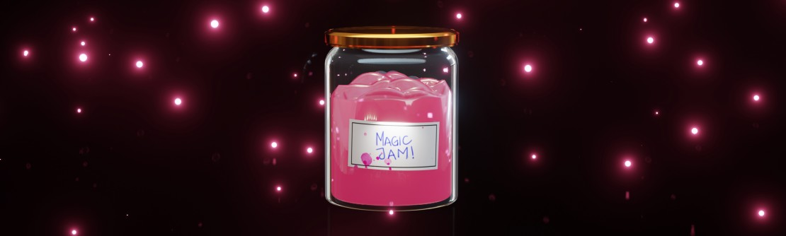 A magical jar of jam light particles flying around label reads Magic Jam