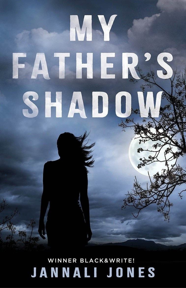 Book cover for My Fathers Shadow Mysterious silhouette of a person facing a cloudy night and large moon