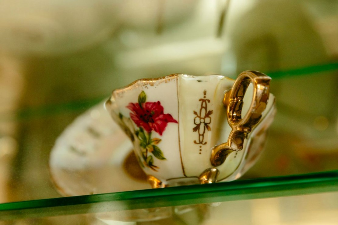Vintage tea cups inside Queensland Terrace