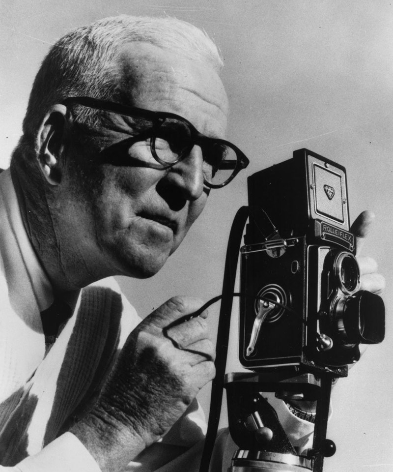 William Sneyd pictured with his Roliflex camera