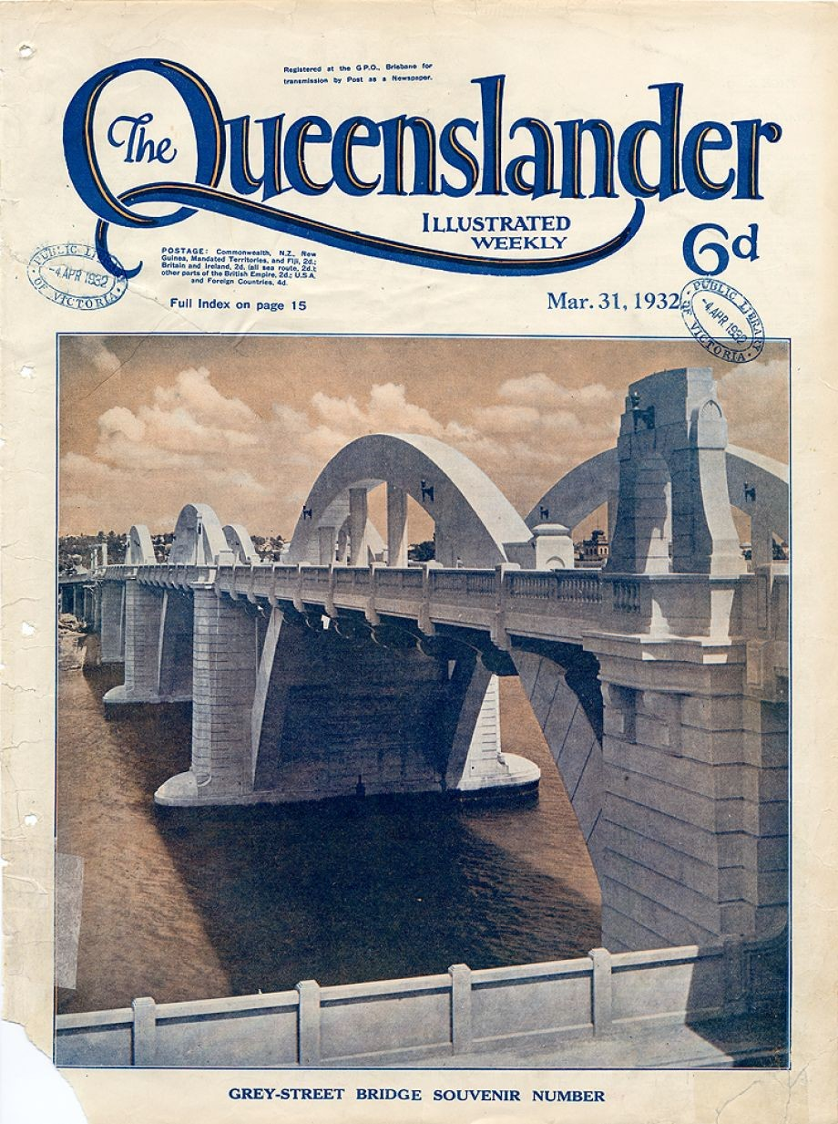 Photograph of the William Jolly Bridge then called the Grey Street Bridge which was officially opened 30 March 1932 The Brisbane Courier on the same day gave most of its edition to coverage of the opening of the Grey Street Bridge from history to speeches ladies dress and events It also highlighted the prospectus for the Hornibrook Highway