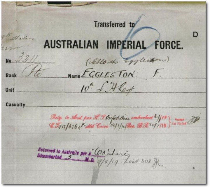 Extract from Frank Egglestons service record